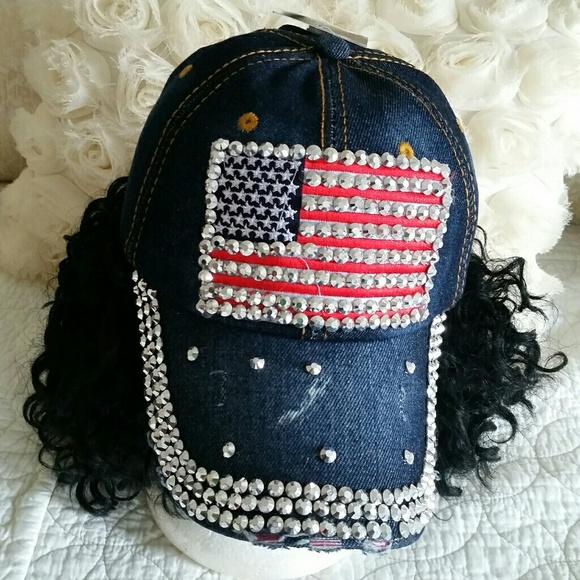 82b9a16207c9c Bling American Flag Rhinstones Jeans Cap